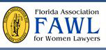 Florida Association of Women Lawyers yellow, black and blue logo