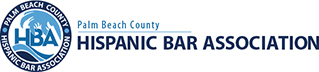 Hispanic Bar Association of Palm Beach County's white, baby blue and dark blue logo